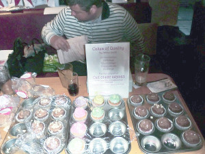 Nooley selling the lovely cupcakes