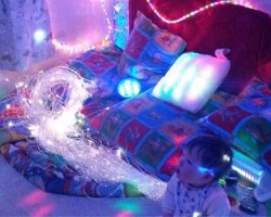 Thomas in his sensory room