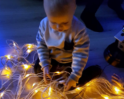 Callan with his sensory lights